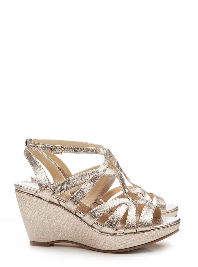 Wallis Gold Wedge Sandal