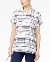 Alfani Striped Cuffed Blouse, Created for Macy's