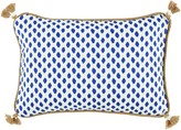 The Well Appointed House BARGAIN BASEMENT ITEM: Sahara Midnight Blue and White Lumbar Pillow with Tassels - ONLY 1 AVAILABLE AT THIS PRICE!