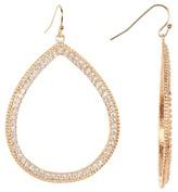 Rivka Friedman Rose Gold Clad Pave Simulated Diamond Open Teardrop Dangle Earrings