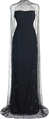 Jenny Packham Cape-Effect Crepe Gown