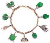 Kentshire Estate Art Deco Vintage Carved Emerald Charm Bracelet with Diamonds