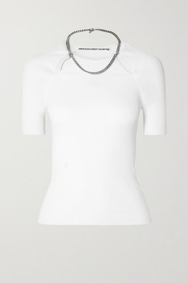 Alexander Wang Chain-embellished Ribbed-knit Top - White