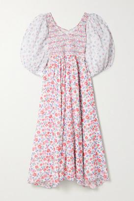 LoveShackFancy Analia Shirred Floral-print Cotton-voile Midi Dress - Pink