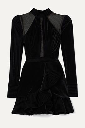 PatBO Metallic Tulle-paneled Ruffled Velvet Mini Dress - Black