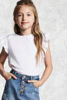 FOREVER 21 girls Girls Flutter Sleeve Top (Kids)