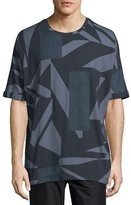 Helmut Lang Misdirection-Print Short-Sleeve Tee, Indigo Multi