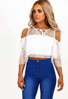 Pink Boutique Love and Lace White Lace Frill Sleeve Crop Top