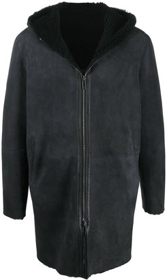 Tagliatore Hooded Leather Mid-Length Coat