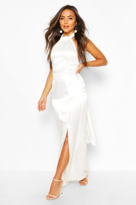 boohoo Petite Occasion Satin High Neck Bow Back Maxi