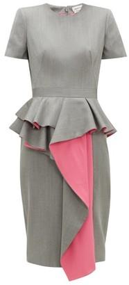 Alexander McQueen Peplum Waterfall-panel Wool-herringbone Dress - Black White