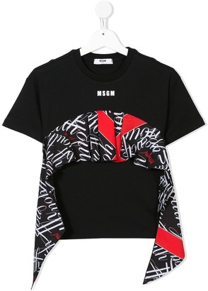 Msgm Kids monogram flounce trim T-shirt