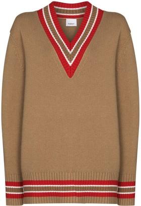 Burberry Reese stripe-trim jumper