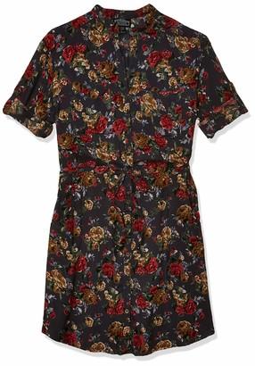 Angie Women's Elastic Waist Shirt Dress Grey Large