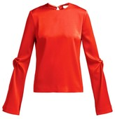 Galvan Satin Flared-sleeve Blouse - Womens - Red
