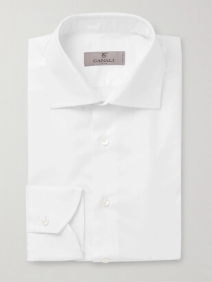 Canali Cutaway-Collar Cotton And Linen-Blend Shirt