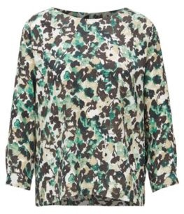 HUGO BOSS Wide-neck top with floral camouflage print