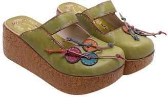Sweet Acacia Women's Clogs Green - Green Floral Leather Clog - Women