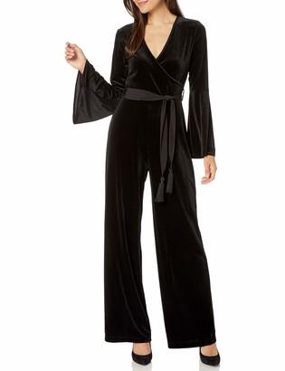 Calvin Klein Women's Faux Wrap Bell Sleeve Jumpsuit