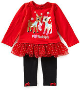 Baby Starters Baby Girls 3-12 Months Christmas I Heart Rudolph Top and Pants Set