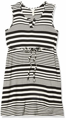Three Seasons Maternity Women's Maternity Sleeveless Placket Stripe Tie Belt Dress Black/White L