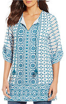 Tolani Selma Split V-Neck 3/4 Sleeve Embroidered Tunic