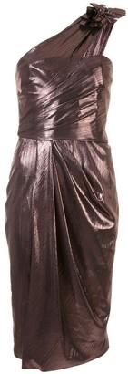 Marchesa Notte One-Shoulder Draped Lame Cocktail Dress