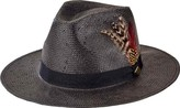San Diego Hat Company Woven Paper Fedora with Feathers SDH3015 (Men's)