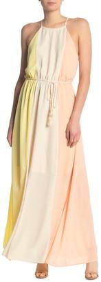 One One Six Colorblock Halter Neck Sleeveless Maxi Dress