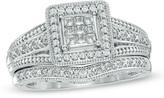 Zales 3/8 CT. T.W. Princess-Cut Composite Diamond Frame Bridal Set in 10K White Gold
