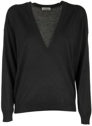 Brunello Cucinelli Scoop Neck Cashmere And Silk Sparkling Yarn Lightweight Sweater