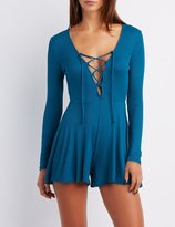 Charlotte Russe Ribbed Lace-Up Romper