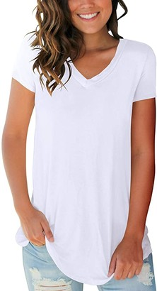 Smalovy Women's Casual Tops Summer V Neck Short Sleeve Shirts with Pocket S-2XL