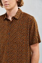 Urban Outfitters Owen Leopard Rayon Short Sleeve Button-Down Shirt