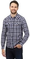 Wrangler Navy Blue Button Down Checked Shirt
