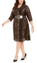 Robbie Bee Plus Size Belted Animal-Print Sweater Dress