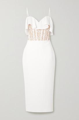 Rasario Ruffled Crepe, Lace And Tulle Midi Dress - White