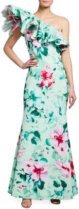 Badgley Mischka Asymmetric Ruffle Floral Print Gown