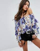 Missguided Floral Print Tiered Sleeve Top