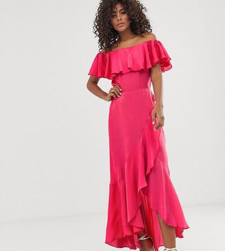 Bardot Flounce London Tall satin midi dress with frill at hem in coral-Pink