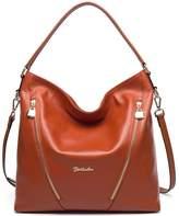 BOSTANTEN Leather Handbags Satchel Designer Tote Shoulder Bags for Women Navy Blue