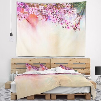 Design Art Designart 'Watercolor Painting Cherry Blossoms' Floral Wall Tapestry
