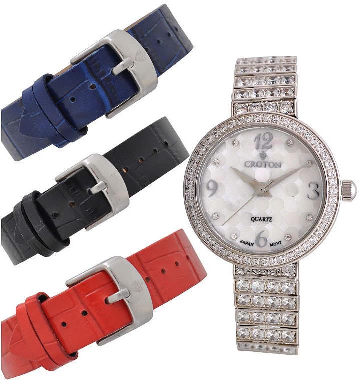 Croton Womens Silver Tone 4-pc. Watch Boxed Set-Cn207555rhmp