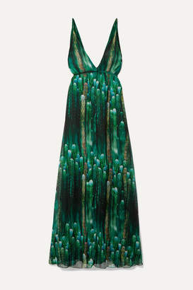 Eywasouls Malibu Harriet Printed Chiffon Maxi Dress - Green