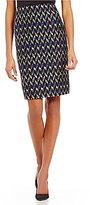 Kasper Printed Tweed Straight Fit Pencil Skirt