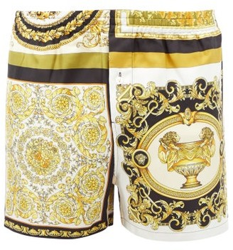 Versace Baroque-print Silk-twill Pyjama Shorts - Gold Multi