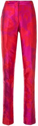 Carolina Herrera Tailored Floral Jacquard Trousers