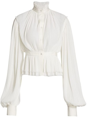 Unttld Pleated Blouson Sleeve Blouse