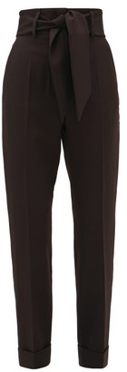 Sara Battaglia Belted High-rise Technical-crepe Trousers - Womens - Black
