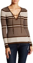 Romeo & Juliet Couture Long Sleeve Lace-Up Ribbed Pullover